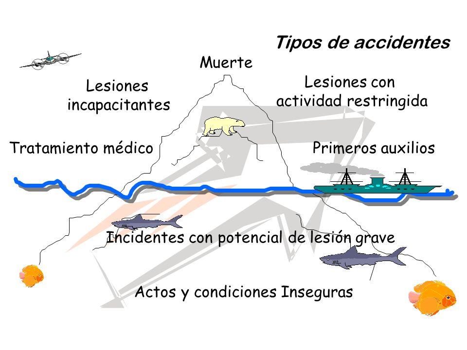 Tipos de accidentes Muerte Lesiones con actividad restringida Lesiones