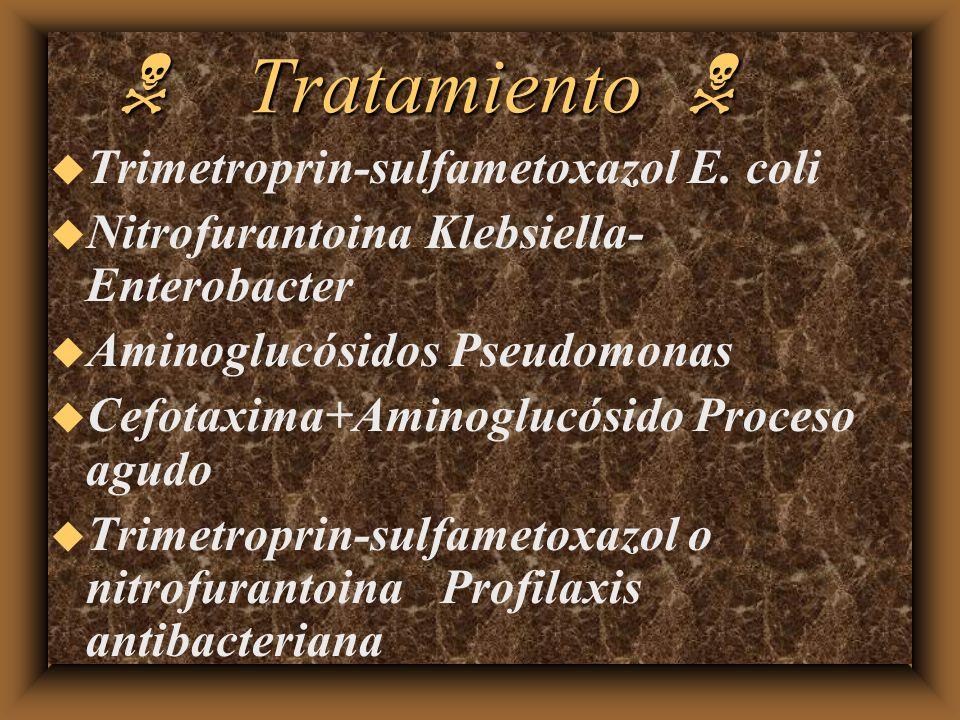 N Tratamiento N Trimetroprin-sulfametoxazol E. coli