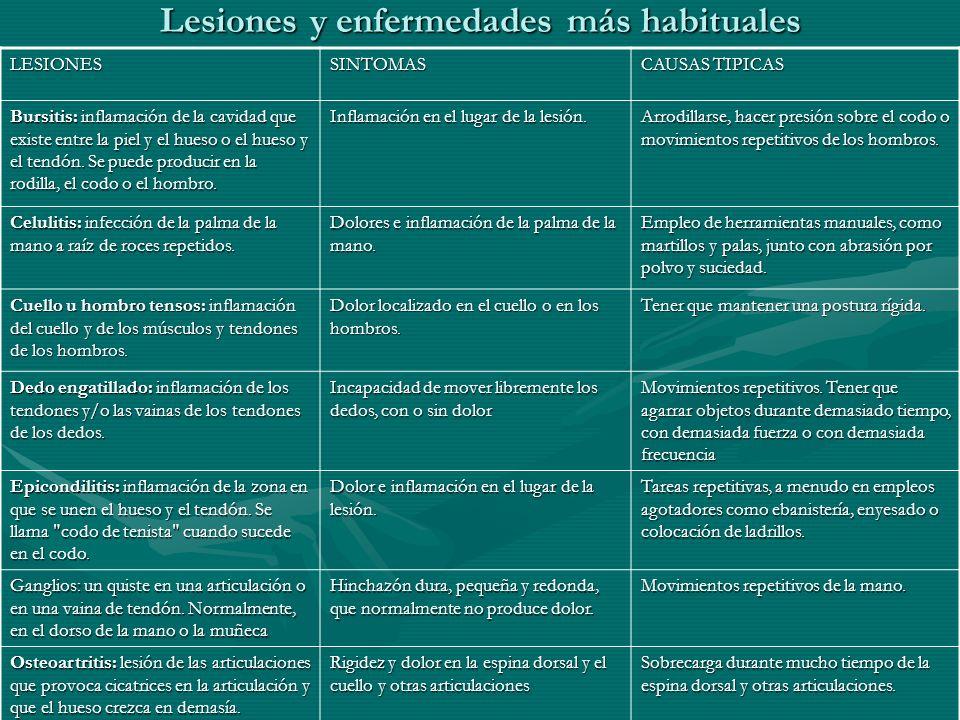 Lesiones y enfermedades más habituales