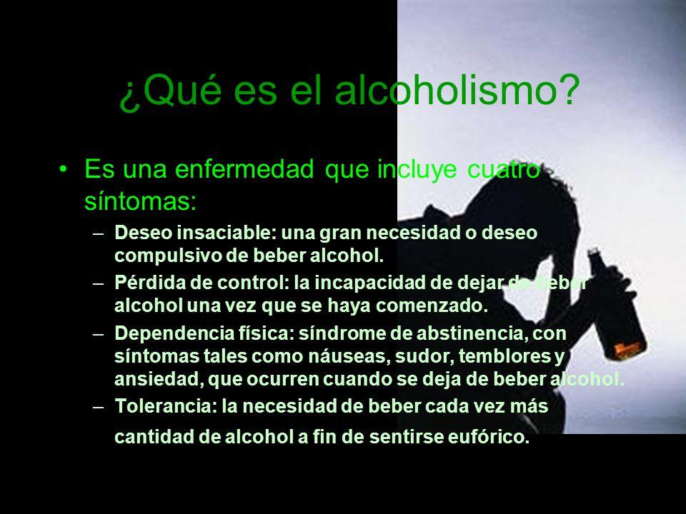 ¿Qué es el alcoholismo Es una enfermedad que incluye cuatro síntomas: