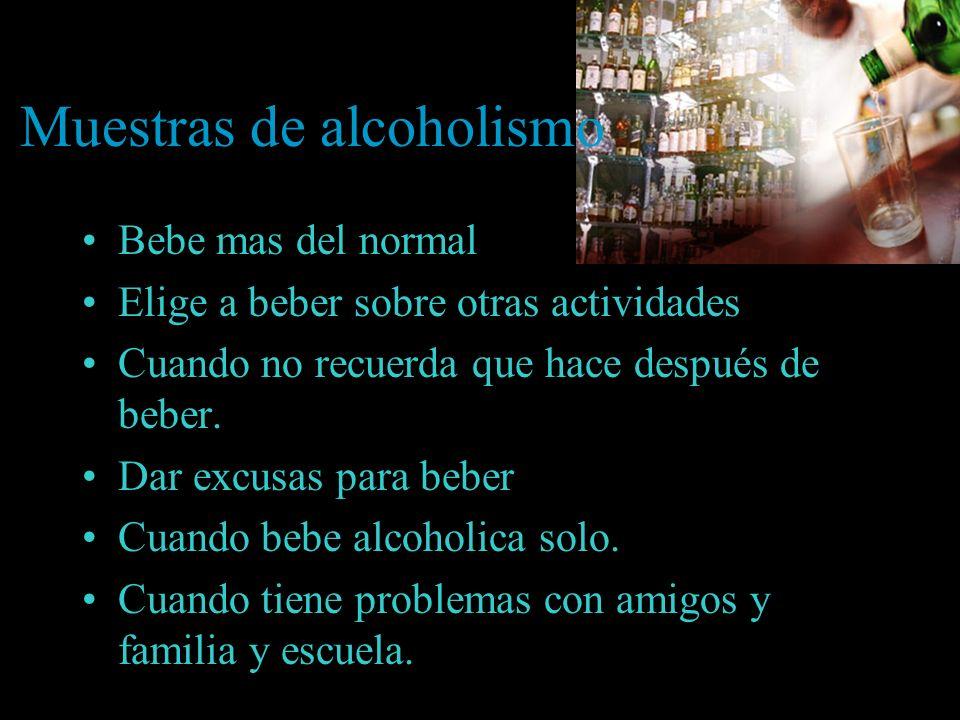 Muestras de alcoholismo