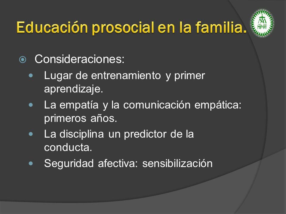 Educación prosocial en la familia.