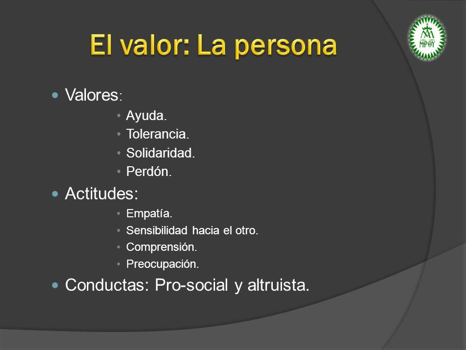 El valor: La persona Valores: Actitudes: