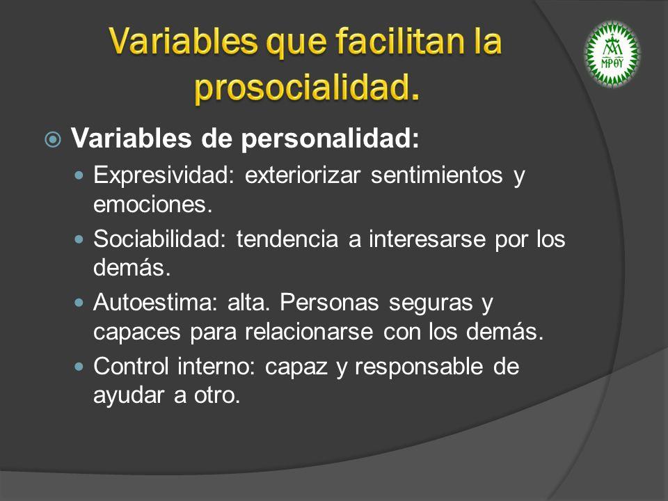 Variables que facilitan la prosocialidad.