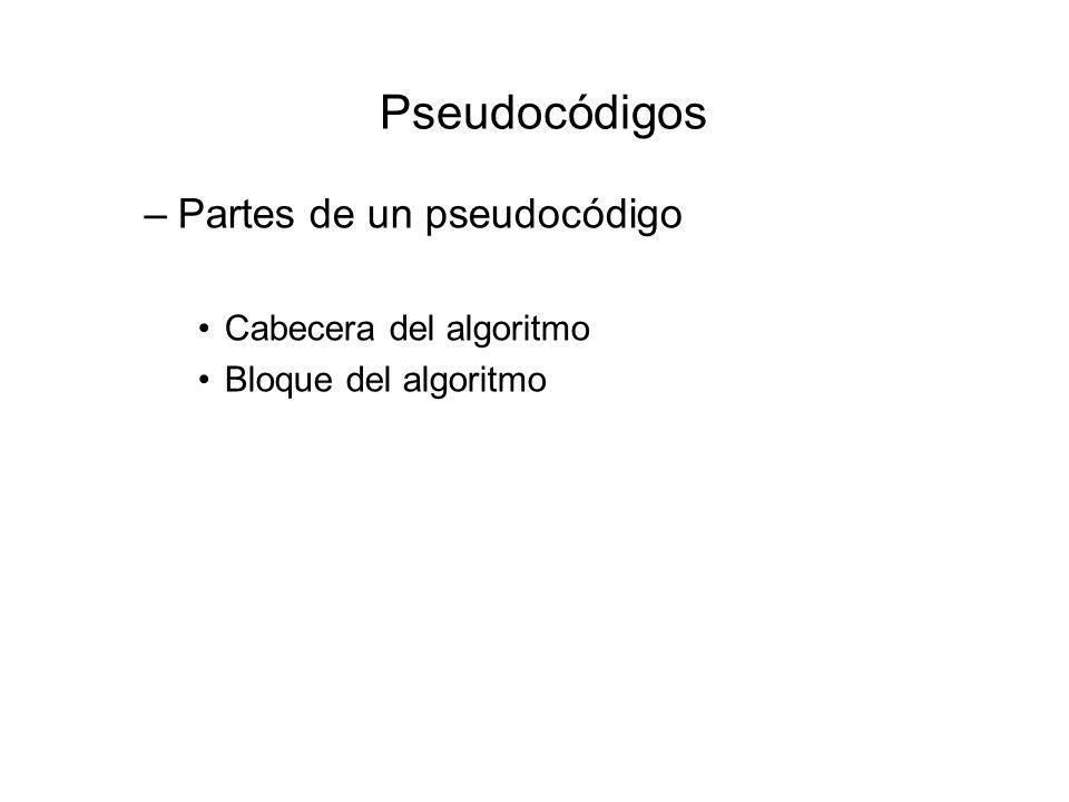Pseudocódigos Partes de un pseudocódigo Cabecera del algoritmo