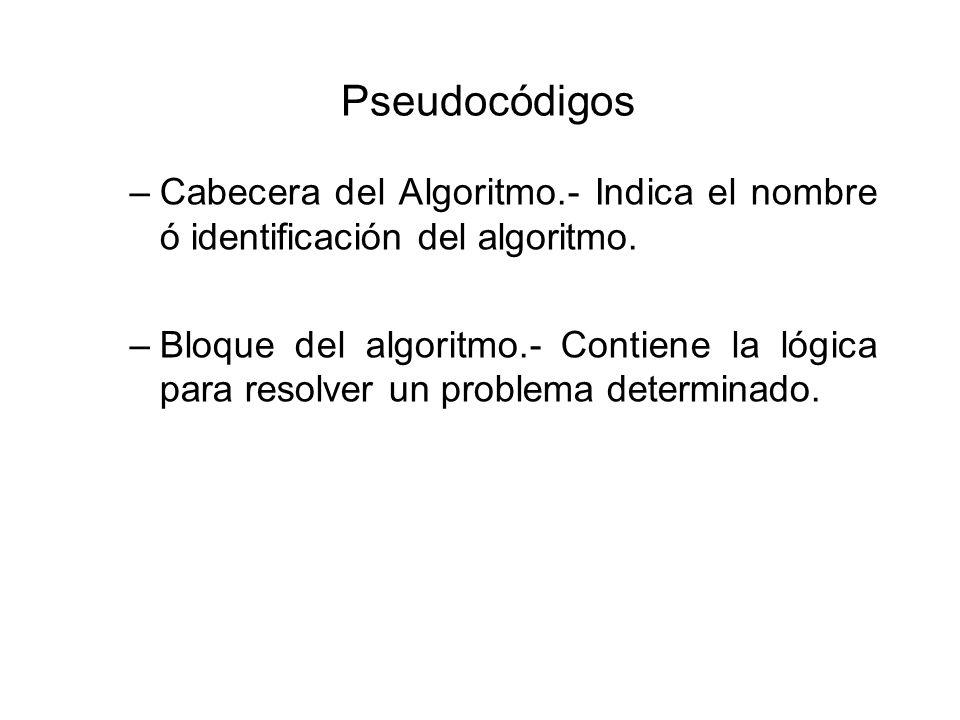 Pseudocódigos Cabecera del Algoritmo.- Indica el nombre ó identificación del algoritmo.