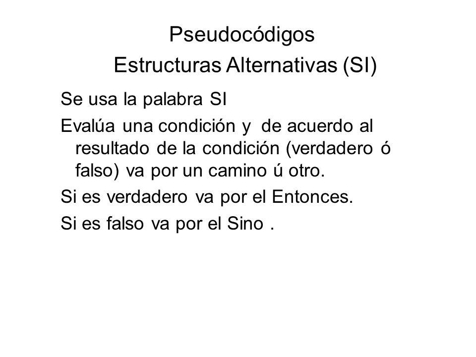 Pseudocódigos Estructuras Alternativas (SI)