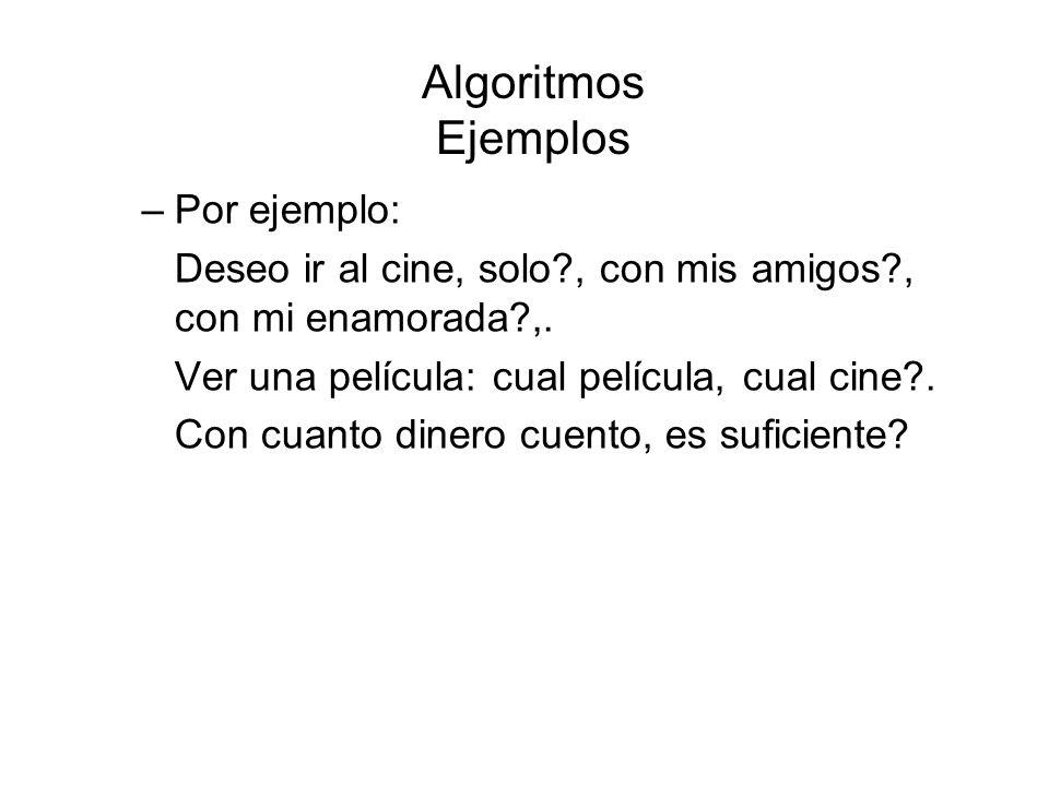 Algoritmos Ejemplos Por ejemplo: