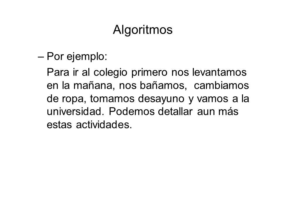 Algoritmos Por ejemplo: