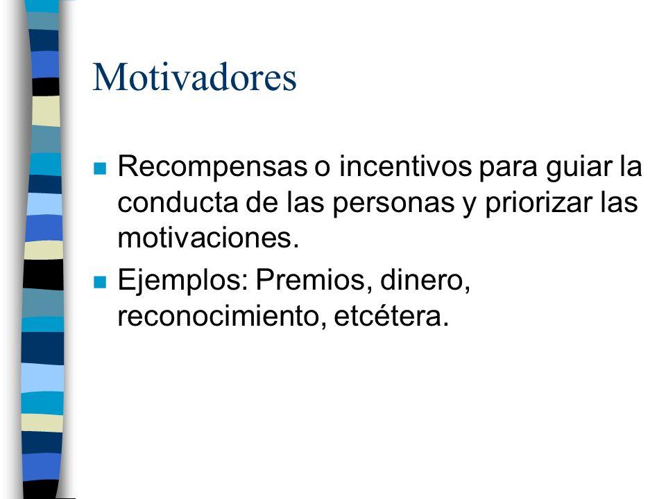 Motivadores Recompensas o incentivos para guiar la conducta de las personas y priorizar las motivaciones.