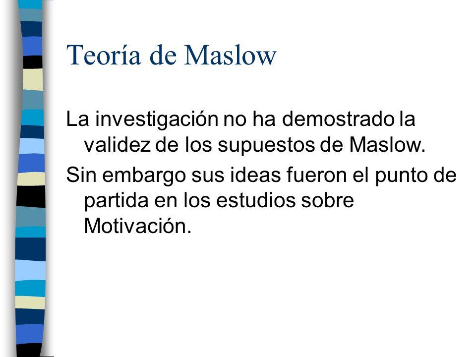 Teoría de Maslow La investigación no ha demostrado la validez de los supuestos de Maslow.