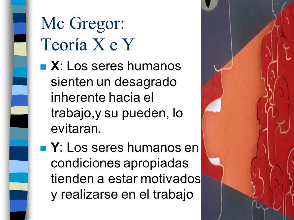 Mc Gregor: Teoría X e Y X: Los seres humanos sienten un desagrado inherente hacia el trabajo,y su pueden, lo evitaran.