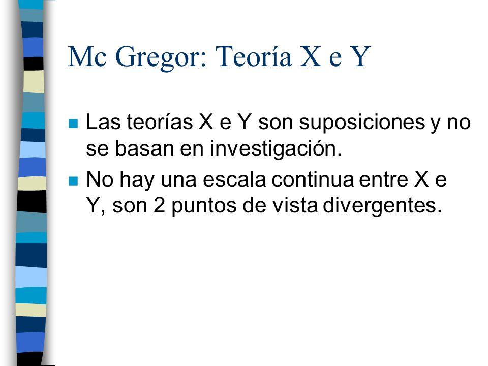 Mc Gregor: Teoría X e Y Las teorías X e Y son suposiciones y no se basan en investigación.