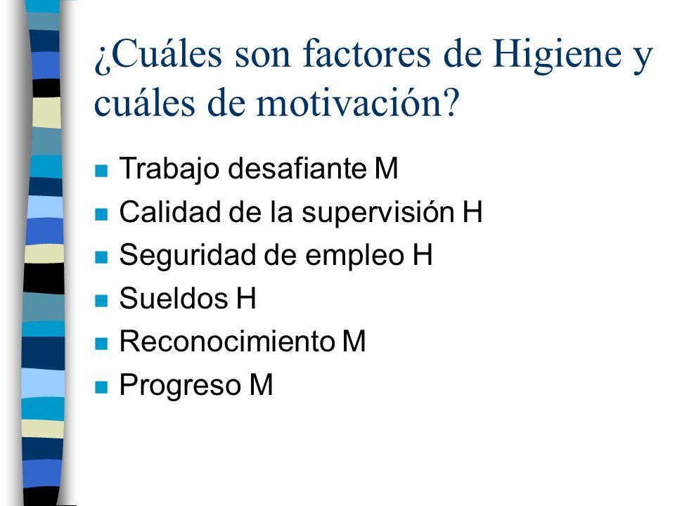 ¿Cuáles son factores de Higiene y cuáles de motivación
