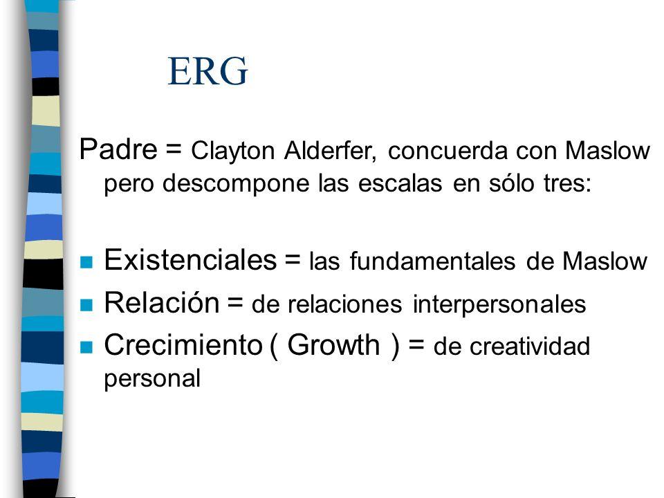 ERG Padre = Clayton Alderfer, concuerda con Maslow pero descompone las escalas en sólo tres: Existenciales = las fundamentales de Maslow.
