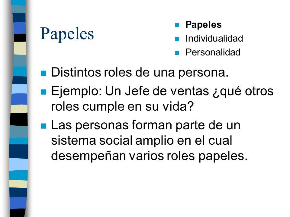 Papeles Distintos roles de una persona.