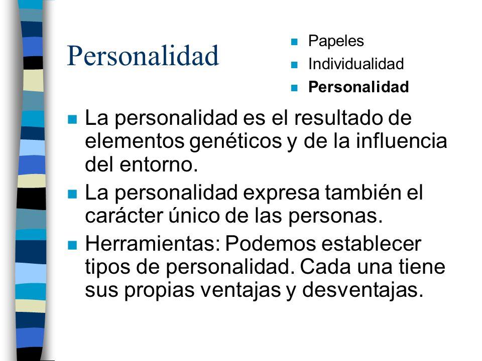 Personalidad Papeles. Individualidad. Personalidad. La personalidad es el resultado de elementos genéticos y de la influencia del entorno.
