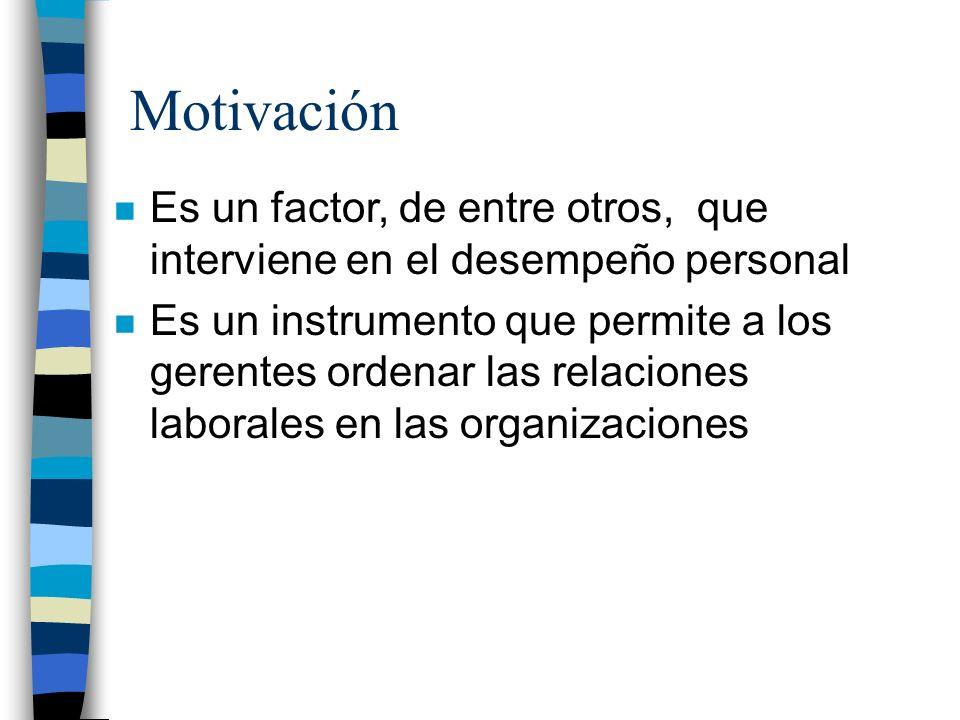 Motivación Es un factor, de entre otros, que interviene en el desempeño personal.