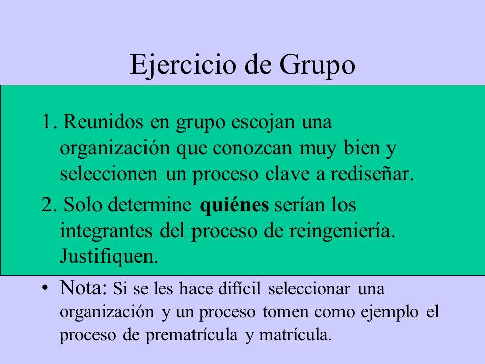 Ejercicio de Grupo 1. Reunidos en grupo escojan una organización que conozcan muy bien y seleccionen un proceso clave a rediseñar.