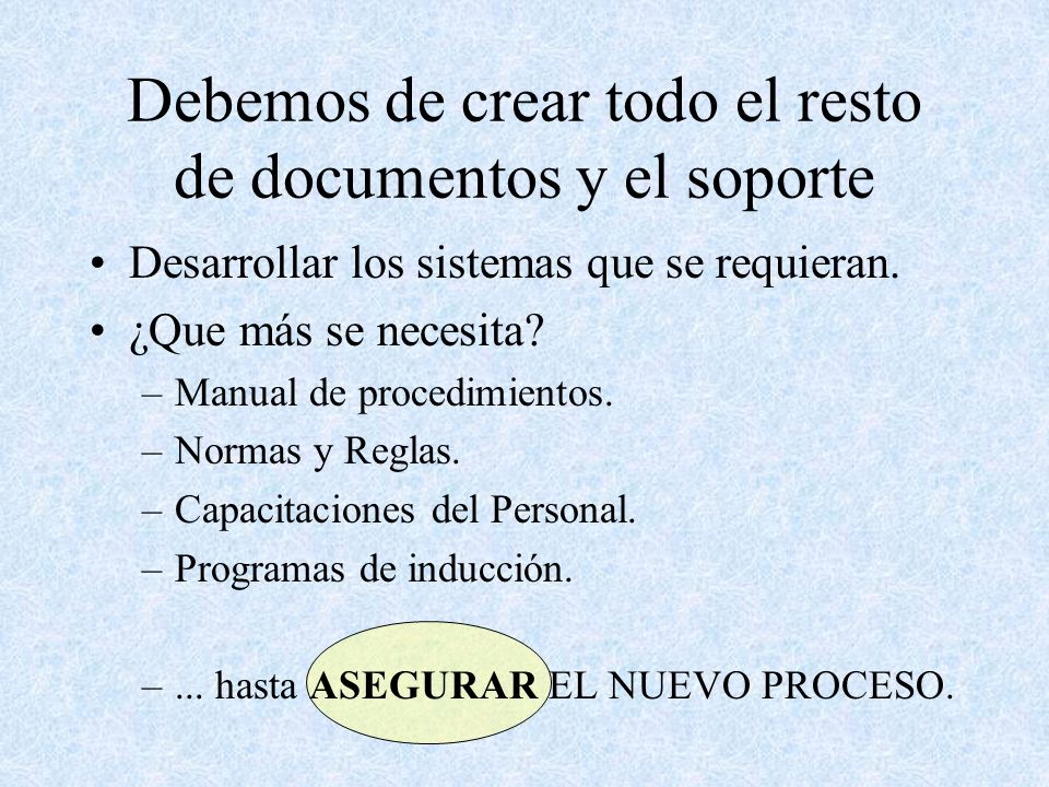 Debemos de crear todo el resto de documentos y el soporte