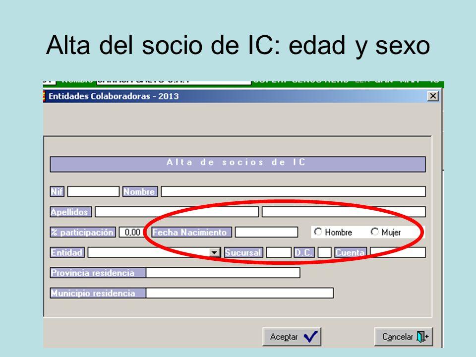 Alta del socio de IC: edad y sexo