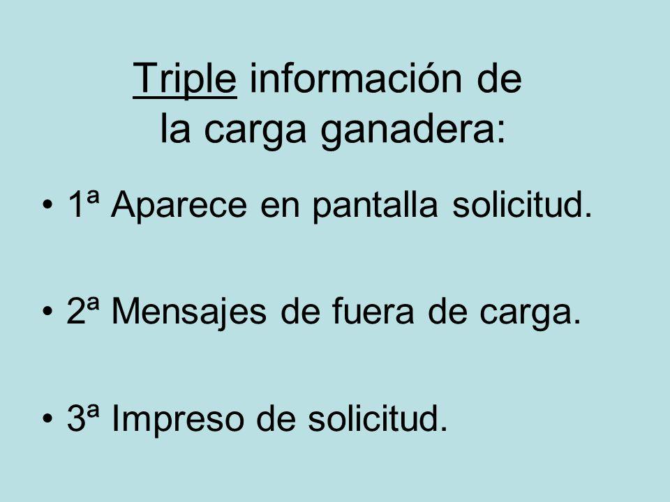 Triple información de la carga ganadera: