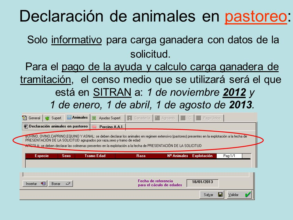 Declaración de animales en pastoreo: Solo informativo para carga ganadera con datos de la solicitud.