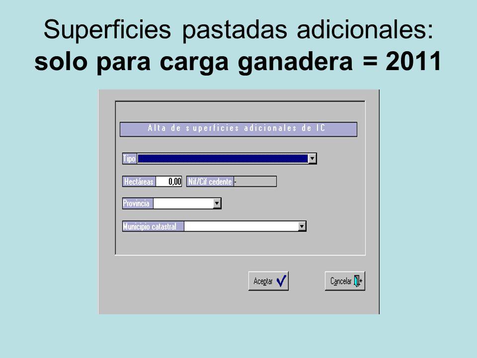 Superficies pastadas adicionales: solo para carga ganadera = 2011