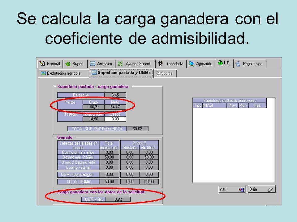 Se calcula la carga ganadera con el coeficiente de admisibilidad.