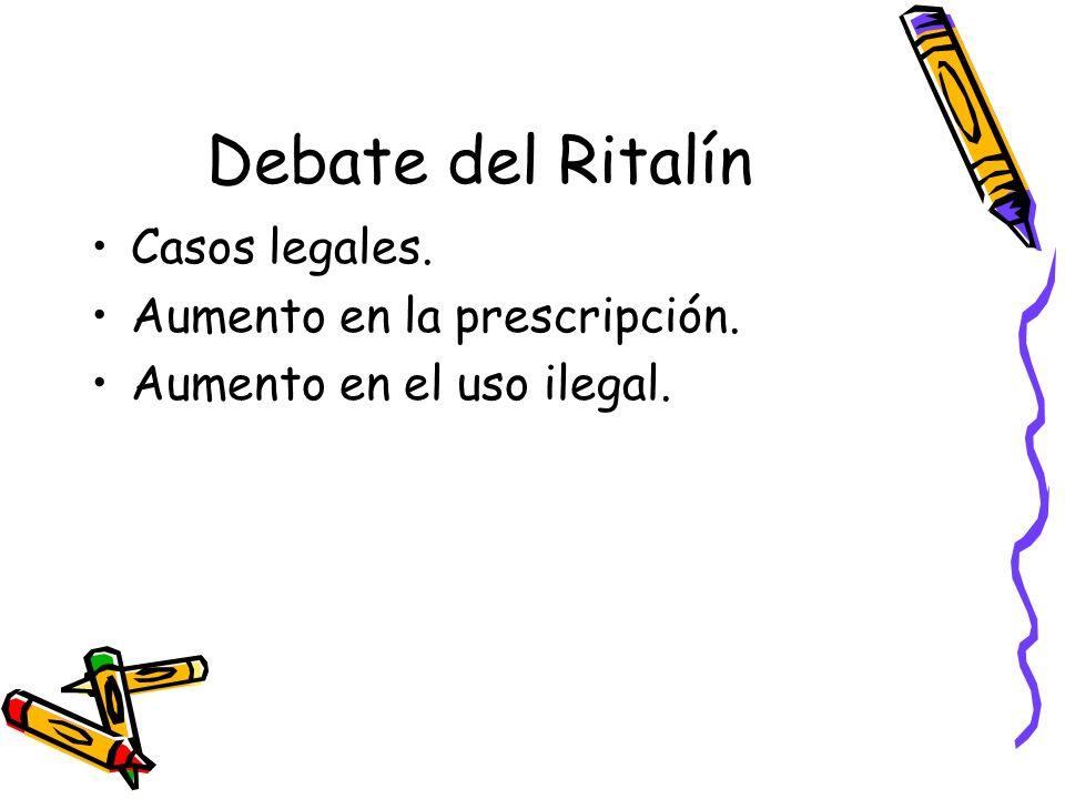 Debate del Ritalín Casos legales. Aumento en la prescripción.