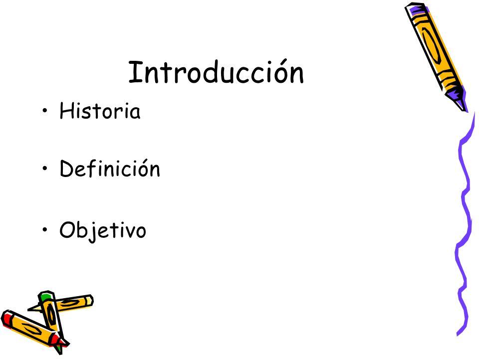 Introducción Historia Definición Objetivo