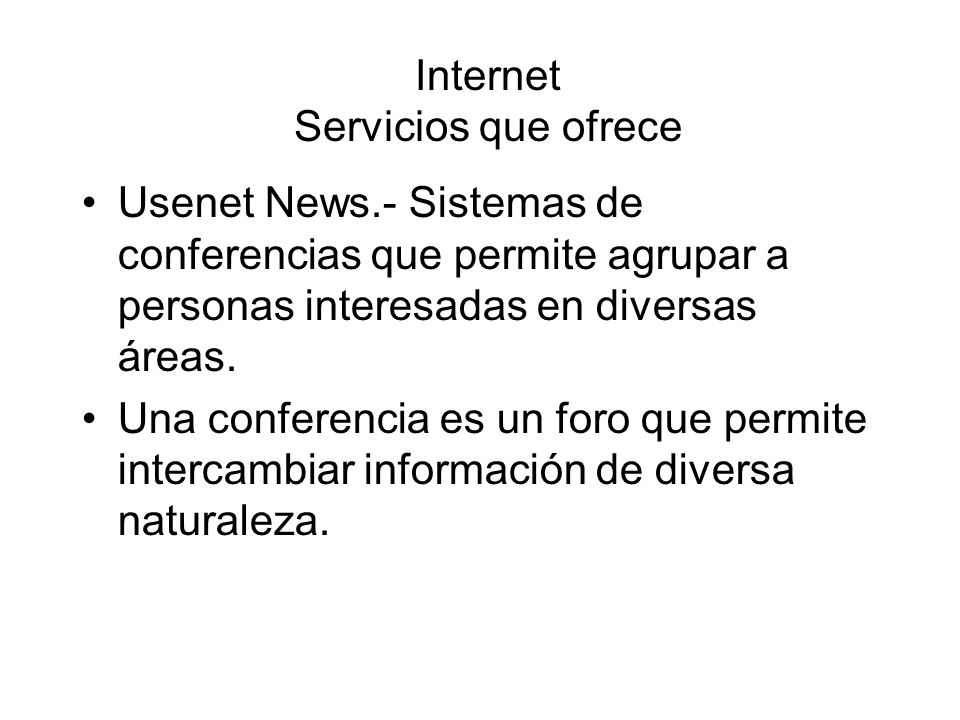 Internet Servicios que ofrece