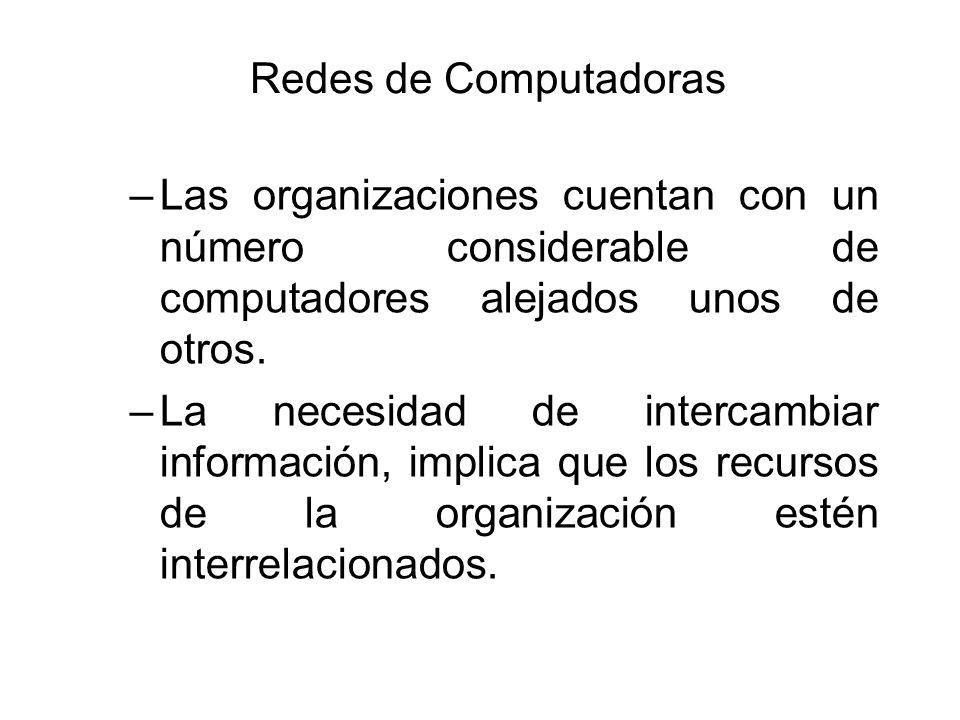 Redes de Computadoras Las organizaciones cuentan con un número considerable de computadores alejados unos de otros.