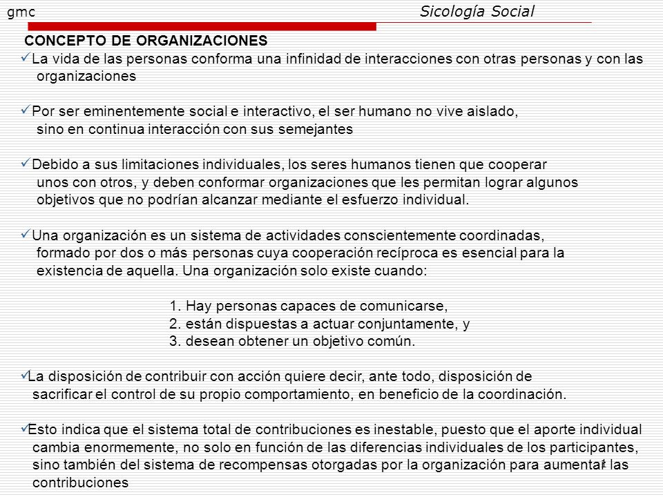 CONCEPTO DE ORGANIZACIONES