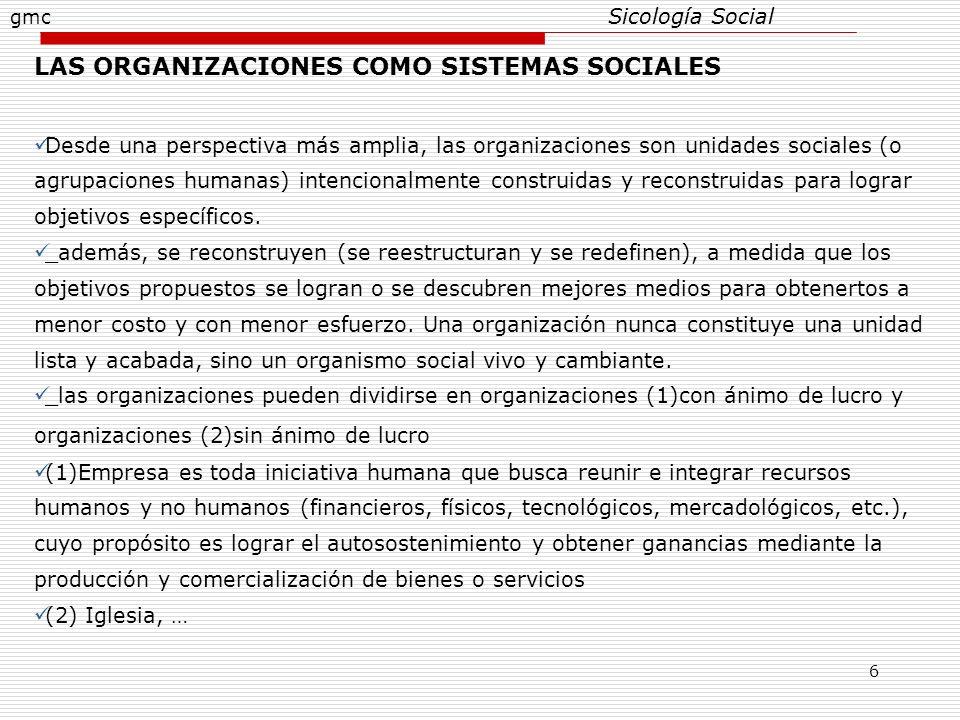 LAS ORGANIZACIONES COMO SISTEMAS SOCIALES
