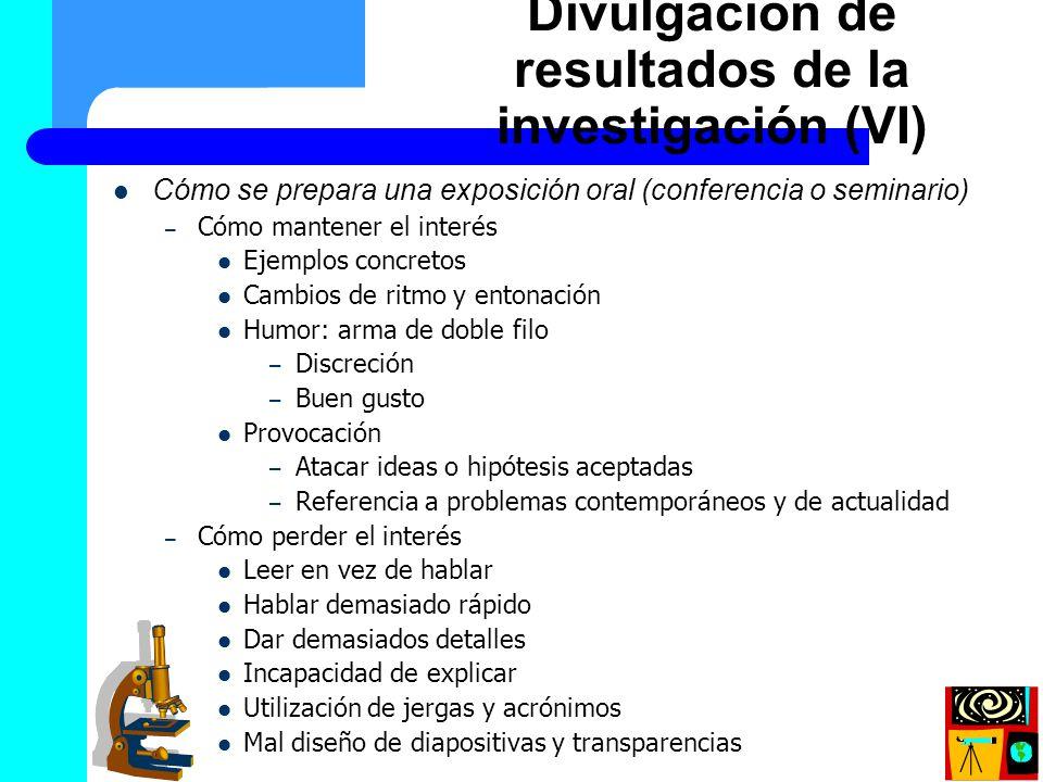 Divulgación de resultados de la investigación (VI)