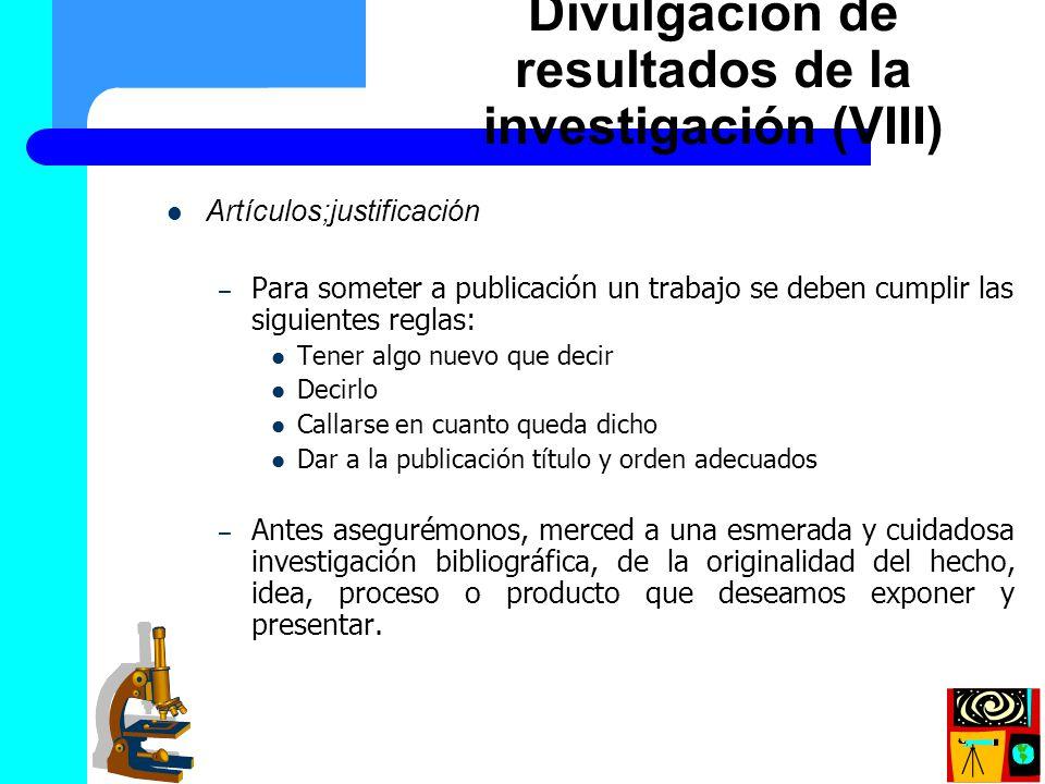 Divulgación de resultados de la investigación (VIII)