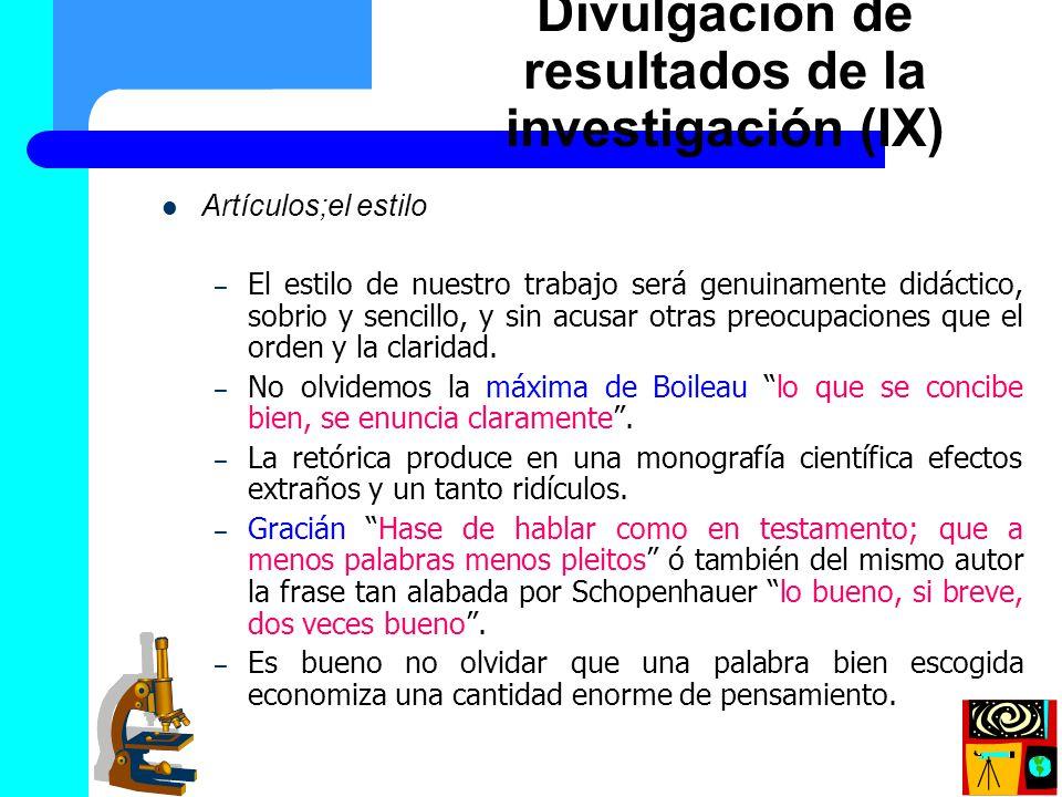 Divulgación de resultados de la investigación (IX)