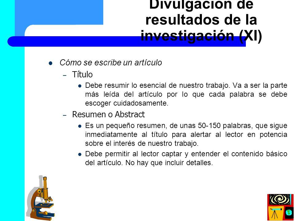 Divulgación de resultados de la investigación (XI)