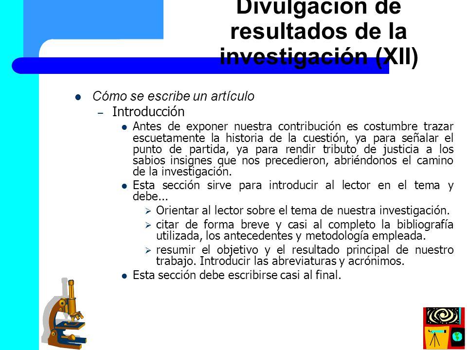 Divulgación de resultados de la investigación (XII)