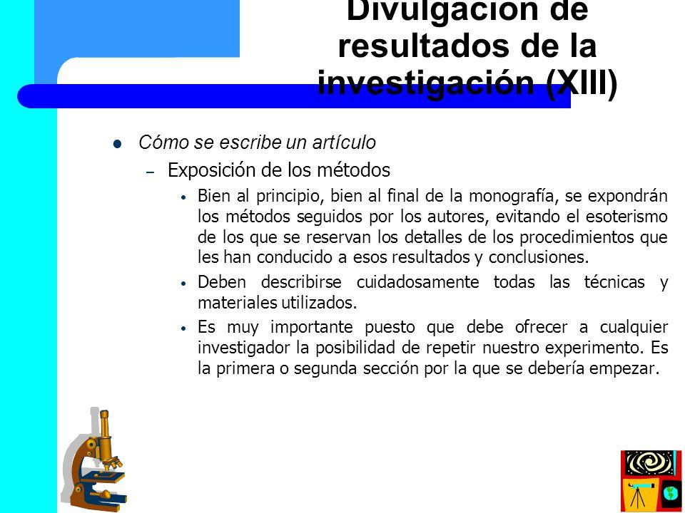Divulgación de resultados de la investigación (XIII)