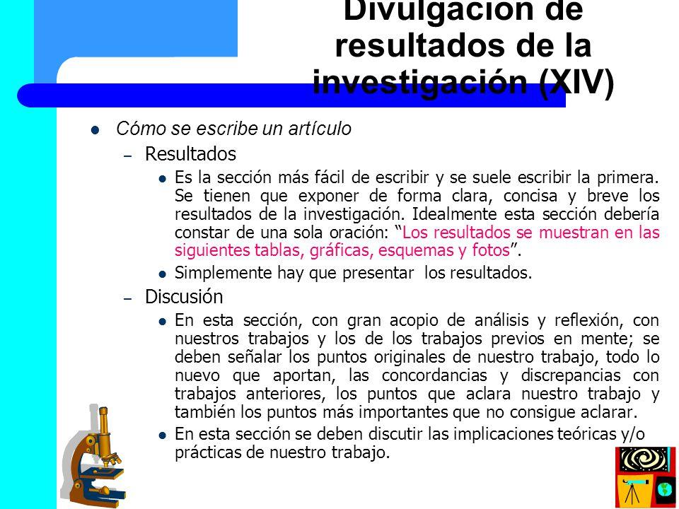 Divulgación de resultados de la investigación (XIV)