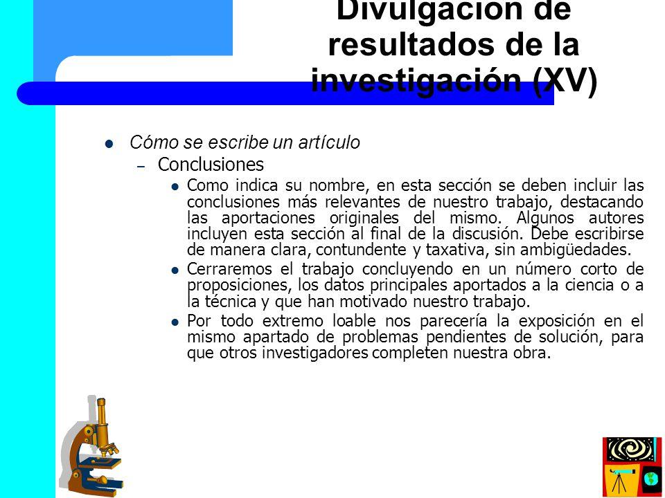 Divulgación de resultados de la investigación (XV)