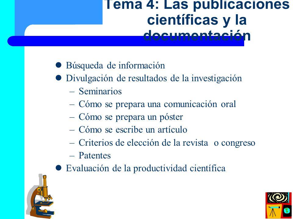 Tema 4: Las publicaciones científicas y la documentación