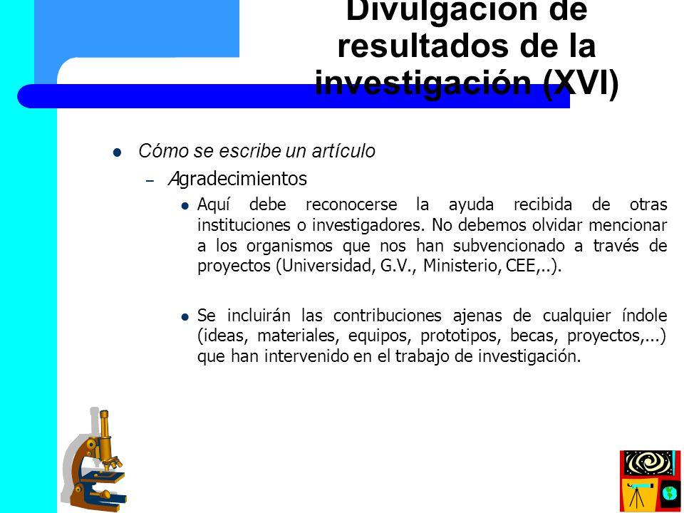 Divulgación de resultados de la investigación (XVI)