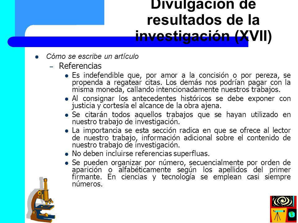 Divulgación de resultados de la investigación (XVII)