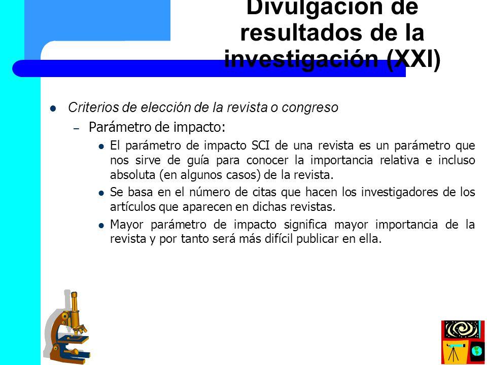 Divulgación de resultados de la investigación (XXI)