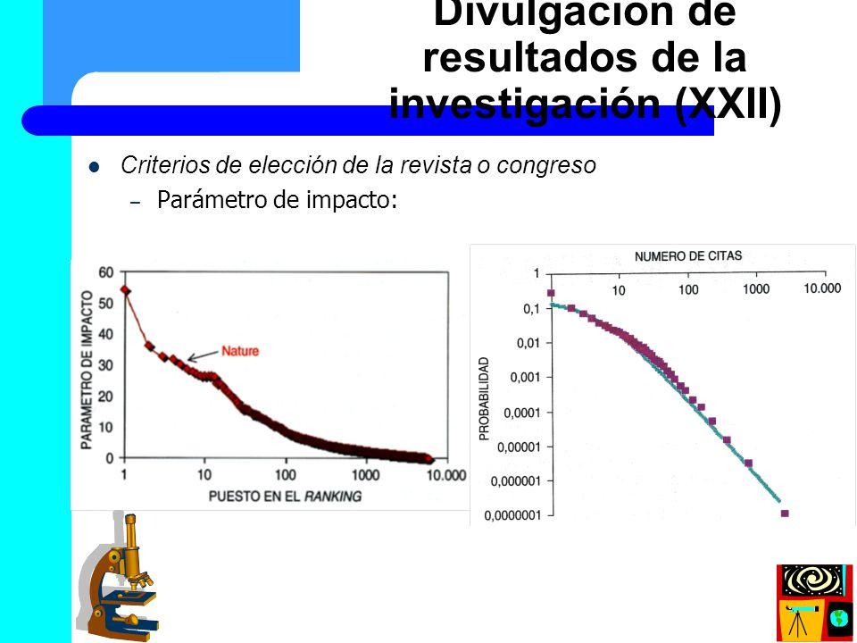 Divulgación de resultados de la investigación (XXII)