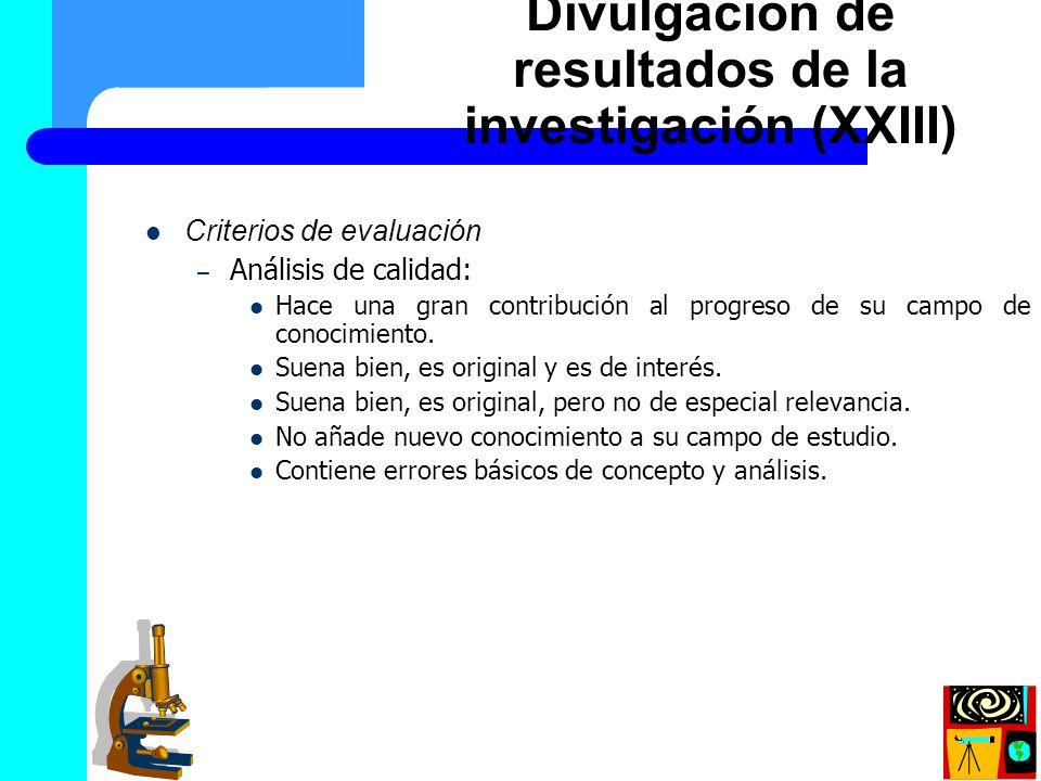 Divulgación de resultados de la investigación (XXIII)