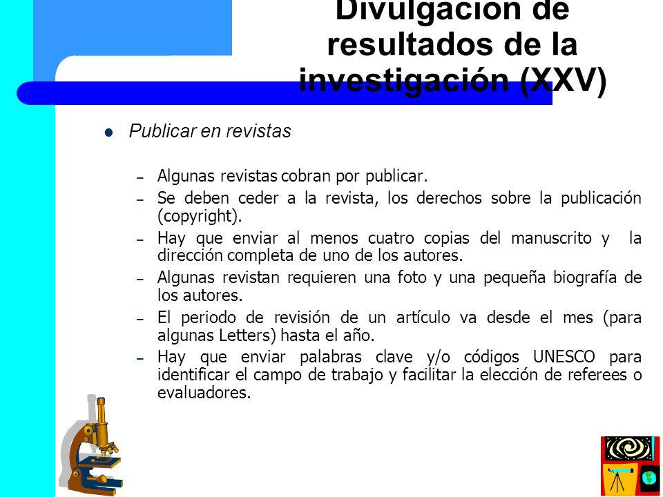 Divulgación de resultados de la investigación (XXV)